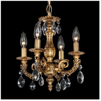 Milano 4 Light 12 inch Florentine Bronze Chandelier Ceiling Light in Clear Spectra