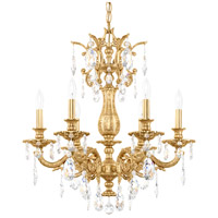 Schonbek 5676-22A Milano 6 Light 24 inch Heirloom Gold Chandelier Ceiling Light in Clear Spectra