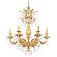 Schonbek 5676-22O Milano 6 Light Heirloom Gold Chandelier Ceiling Light in Cast Heirloom Gold Milano Optic