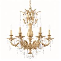 Schonbek 5676-26O Milano 6 Light 24 inch French Gold Chandelier Ceiling Light in Cast French Gold, Milano Optic
