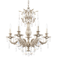 Schonbek 5676-48SH Milano 6 Light 24 inch Antique Silver Chandelier Ceiling Light in Silver Shade