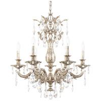 Schonbek 5676-48O Milano 6 Light 24 inch Antique Silver Chandelier Ceiling Light in Cast Antique Silver, Milano Optic