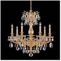 Milano 7 Light 27 inch French Gold Chandelier Ceiling Light in Clear Optic Handcut