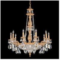 Milano 14 Light 30 inch French Gold Chandelier Ceiling Light in Clear Optic Handcut