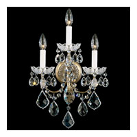 Schonbek New Orleans 3 Light Wall Sconce in Etruscan Gold and Clear Heritage Handcut Trim 3652-23H
