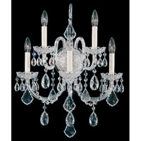 Schonbek Olde World 5 Light Wall Sconce in Silver and Crystal Swarovski Elements Trim 6806-40S