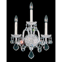 Schonbek Olde World 3 Light Wall Sconce in Silver and Crystal Swarovski Elements Trim 6808-40S