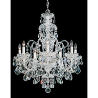 Schonbek Olde World 7 Light Chandelier in Silver and Crystal Swarovski Elements Trim 6811-40S