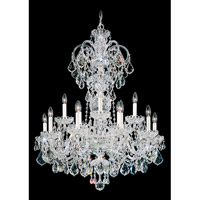 Schonbek Olde World 15 Light Chandelier in Silver and Crystal Swarovski Elements Trim 6814-40S