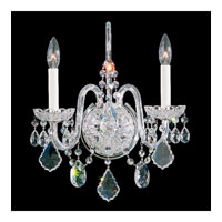 Schonbek Olde World 2 Light Wall Sconce in Silver and Crystal Swarovski Elements Trim 6807-40S