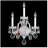 Schonbek 6808-40S Olde World 3 Light 8 inch Silver Wall Sconce Wall Light in Polished Silver Olde World Swarovski