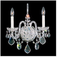 Olde World 2 Light 6 inch Silver Wall Sconce Wall Light in Clear Swarovski