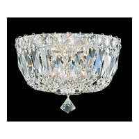 Schonbek Petit Crystal Deluxe 3 Light Flush Mount in Silver and Clear Gemcut Trim 5890-40M