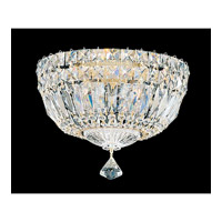 Petit Crystal Deluxe 4 Light 10 inch Gold Flush Mount Ceiling Light in Clear Gemcut, Polished Gold