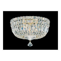 Petit Crystal Deluxe 5 Light 12 inch Gold Flush Mount Ceiling Light in Clear Gemcut, Polished Gold