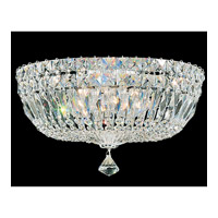 Schonbek Petit Crystal Deluxe 5 Light Flush Mount in Silver and Clear Gemcut Trim 5893-40M