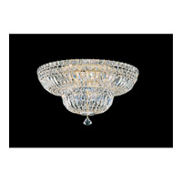 Petit Crystal Deluxe 9 Light 18 inch Gold Flush Mount Ceiling Light in Clear Gemcut, Polished Gold