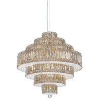 Schonbek Plaza 25 Light Pendant in Stainless Steel and Golden Shadow Swarovski Elements Trim 6675GS