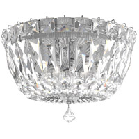 Schonbek 5890-40M Petit Crystal Deluxe 3 Light 8 inch Silver Flush Mount Ceiling Light in Polished Silver, Clear Gemcut