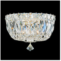 Petit Crystal Deluxe 3 Light 8 inch Silver Flush Mount Ceiling Light in Clear Gemcut