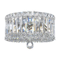 Schonbek Plaza 4 Light Flush Mount in Stainless Steel and Silver Teak Swarovski Elements Trim 6692ST