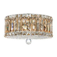 Schonbek Plaza 4 Light Flush Mount in Stainless Steel and Golden Shadow Swarovski Elements Trim 6694GS