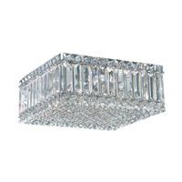 Quantum 4 Light 12 inch Stainless Steel Flush Mount Ceiling Light in Clear Spectra Crystal
