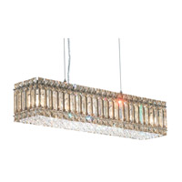 Schonbek Quantum 6 Light Pendant in Stainless Steel and Golden Shadow Swarovski Elements Trim 2258GS