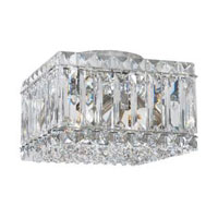 Schonbek Quantum 4 Light Flush Mount in Stainless Steel and Silver Shade Swarovski Elements Trim 2120SH