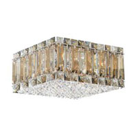 Schonbek Quantum 4 Light Flush Mount in Stainless Steel and Silver Teak Swarovski Elements Trim 2122ST