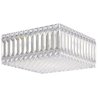 Schonbek 2124A Quantum 4 Light 12 inch Stainless Steel Flush Mount Ceiling Light in Clear Spectra