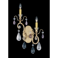 Schonbek Renaissance Rock 2 Light Wall Sconce in Heirloom Gold and Amethyst Heritage Handcut Trim 3557-22AM