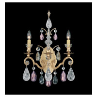Schonbek Renaissance Rock 2 Light Wall Sconce in Heirloom Gold and Amethyst & Black Diamond Rock Crystal Colors Trim 3561-22AD