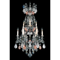 Schonbek Renaissance Rock 10 Light Chandelier in Antique Pewter and Pink & Black Diamond Rock Crystal Colors Trim 3580-47PD