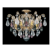 Schonbek Renaissance Rock 6 Light Chandelier in Heirloom Gold and Amethyst & Black Diamond Rock Crystal Colors Trim 3584-22AD