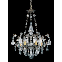 Schonbek Renaissance Rock + Cryst 6 Light Chandelier in Etruscan Gold and Rock/Color/Cl Crystal 3586-23CL
