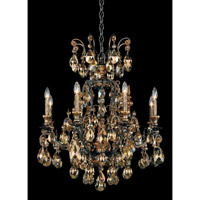 Schonbek Renaissance 9 Light Chandelier in Heirloom Bronze and Golden Teak Swarovski Elements Colors Trim 3771-76TK