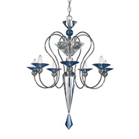 Schonbek Rhiannon 7 Light Chandelier in Black Pearl and Sapphire Optic Handcut Colors Trim 9657-49SP
