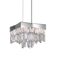 Schonbek Riviera 4 Light Pendant in Stainless Steel and Crystal Swarovski Elements Trim RF2410N-401S