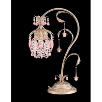 Schonbek Rondelle 1 Light Table Lamp in Silvergild and Pink Vintage Crystal Trim 1249-91PK