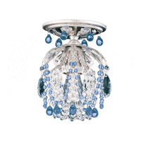 Schonbek Rondelle 1 Light Semi Flush Mount in Antique Silver and Sapphire Vintage Crystal Trim 1250-48SP