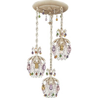 Schonbek Rondelle 3 Light Pendant in Golden Birch and Soft Jewel Vintage Crystal Trim 1257-35SJ