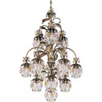 Schonbek Rondelle 13 Light Chandelier in Etruscan Gold and Soft Jewel Vintage Crystal Trim 1270-23SJ