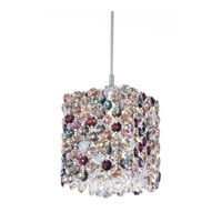 Schonbek Refrax 1 Light Pendant in Stainless Steel and Chinchilla Swarovski Elements Trim RE0505CHI
