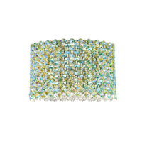 Schonbek Refrax 5 Light Wall Sconce in Stainless Steel and Emerald Green Swarovski Elements Trim REW1006EME