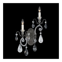 Schonbek Renaissance Rock WB 2 Light Wall Sconce in Antique Pewter and Rock/Color/Cl Crystal 3558-47CL