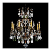Schonbek Renaissance Rock 9 Light Chandelier in Heirloom Bronze and Olivine & Smoke Topaz Crystal Rock Crystal Colors Trim 3571-76OS