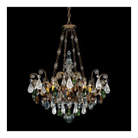 Schonbek Renaissance Rock 8 Light Chandelier in Etruscan Gold and Olivine & Smoke Topaz Crystal Rock Crystal Colors Trim 3587-23OS