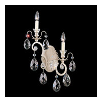 Schonbek Renaissance 2 Light Wall Sconce in Antique Silver and Silver Shade Swarovski Elements Colors Trim 3757-48SH