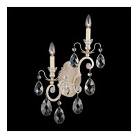 Schonbek Renaissance 2 Light Wall Sconce in Antique Silver and Silver Shade Swarovski Elements Colors Trim 3758-48SH